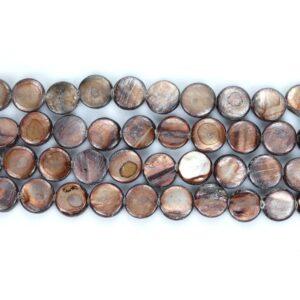 Lenticchie madreperlate marroni 10 mm, 1 filo