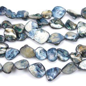 Pepite di madreperla blu argento 18 x 18 mm, 1 filo