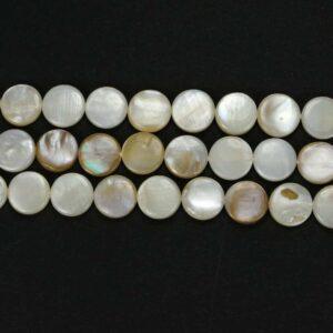 Lenti in madreperla bianco 10mm, 1 filo