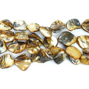 Perlmutt Nuggets gold braun ca. 18 x 18 mm, 1 Strang