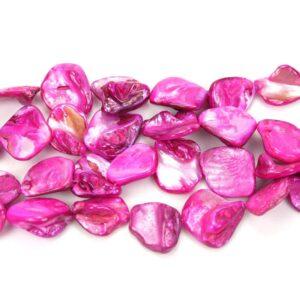 Pepite di madreperla rosa circa 18 x 18 mm, 1 capo