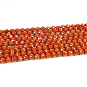 Red Stone Jaspis Kugel facettiert 8mm, 1 Strang