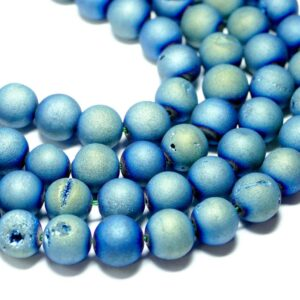 Achat Kugel matt blau grün drusen 6 – 16 mm, 1 Strang
