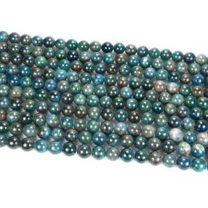 Apatit Kugel glanz dunkel blau 4 – 10 mm, 1 Strang