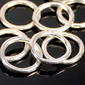 Binderinge Öse versilbert geschlossen Metall Ø 12 mm 10 Stück