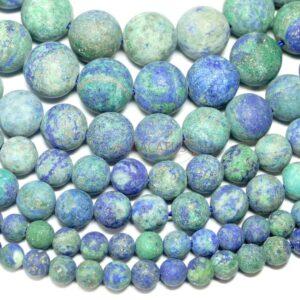 Chrysokoll Kugel matt blau 4 – 16 mm, 1 Strang