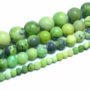 Chrysopras Kugel matt 4 – 12 mm, 1 Strang