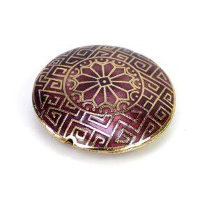 Perle discus motif violet-or 31×9 mm