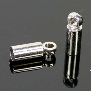 Endkappe Design Metall dunkelsilber 2 mm 10 Stück
