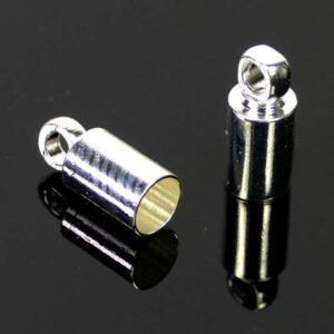 Endkappe Design Metall versilbert 3 mm 10 Stück