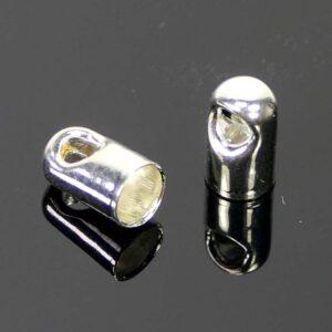 Endkappe Metall versilbert 3 mm 20 Stück
