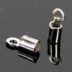 Endkappe offen Metall dunkelsilber 2 mm 10 Stück
