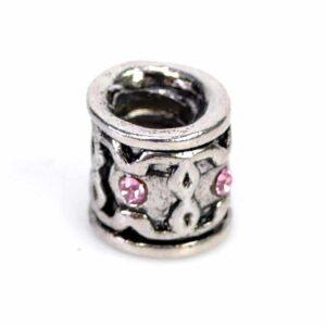 Perle large trou en métal, argent, strass rose 8 mm