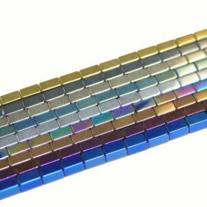 Cuboide di ematite, selezione del colore 3 x 5 mm, 1 filo