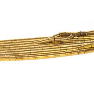 Tubi di ematite oro 6 x 8 mm, 1 filo