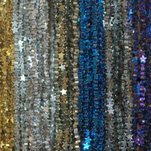 Ematite stelle gloss selezione colore 4 e 6 mm, 1 filo