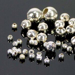 Kaschierperlen Hohlkugeln Metall silber 2-6 mm 50 Stück