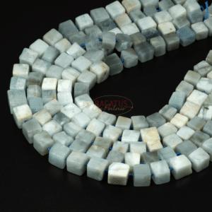 Aquamarine block approx. 9 x 11 mm, 1 strand