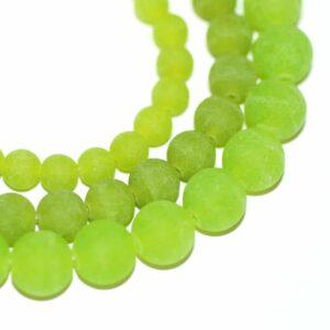 Jade Kugel matt grasgrün 4 – 12 mm, 1 Strang