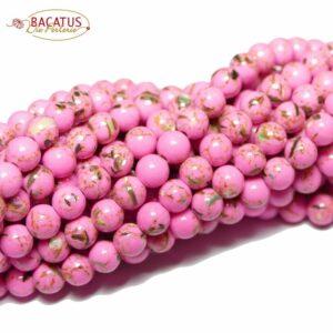 Jade Kugel rosa braun gold 4 – 12 mm, 1 Strang