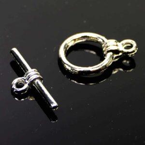 T-Schließe Knebel Verschluss silber 15 mm