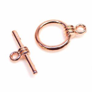T-Schließe Knebel Verschluss rosegold 15 mm