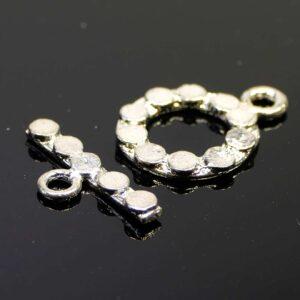 T-Schließe Knebel Verschluss Kreise silber 18 mm
