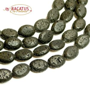 Lava Oliven schwarz 10 x 14 mm, 1 Strang
