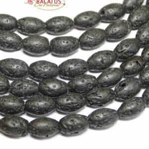 Lava Olive schwarz 8 x 12 mm, 1 Strang