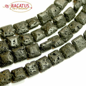 Lava Quadrate schwarz 10 mm, 1 Strang