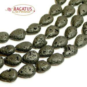 Lava Tropfen schwarz 10 x 14 mm, 1 Strang