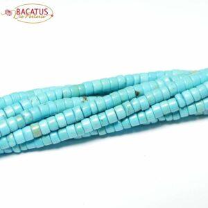 Ruote in magnesite turchese 2 x 4 mm, 1 filo