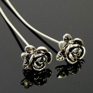 Nietstifte Zierkopf filigrane kleine Rose silber 5 cm 2 Stück