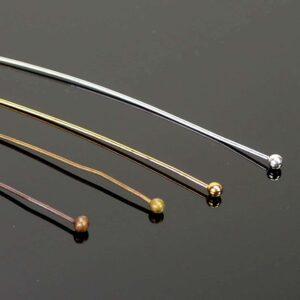 Nietstifte mit Kugel fein Metall Farbauswahl 5 cm 20 Stück