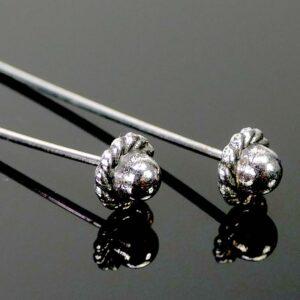 Nietstifte Zierkopf filigranes Hütchen Metall silber 5 cm 4 Stück