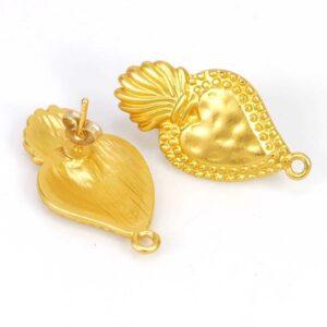 Ohrstecker Tropfen 30x16mm gold matt Herz 1 Paar