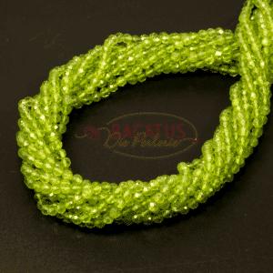 Peridot Kugel facettiert grün 2 – 4 mm, 1 Strang