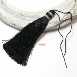 edle Quaste schwarz & silber 105×10 mm