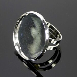 Ring Rohling mit Fassung silber Metall 23 mm