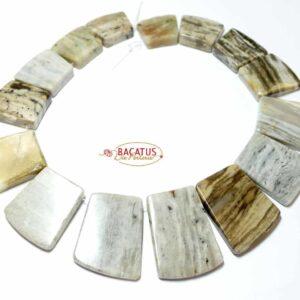 Jaspis Collier grau ca. 15×18 – 16x26mm, 1 Strang
