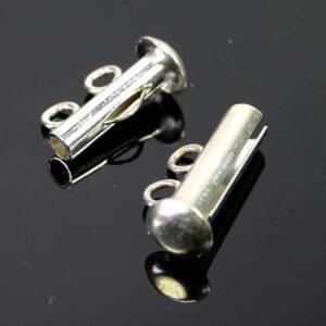 Steckschließe Schiebeschließe silber 2-reihig