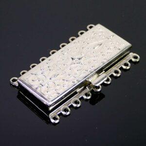 Steckschließe Ornament silber 9-reihig
