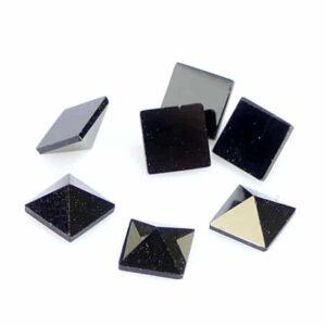 Klebstein Cabochon Glas Schwarz 4 mm 10 Stück