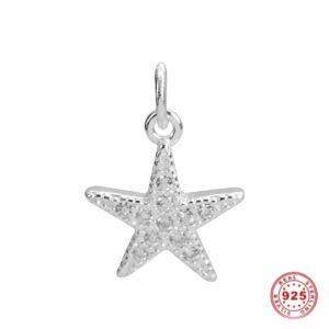 Ciondolo stella marina argento 925 e vetro cristallo 14 x 10 mm