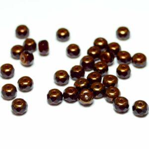 Böhmische Glasperlen facettierte Rondelle 5 mm rot/bronze, 20 Stück