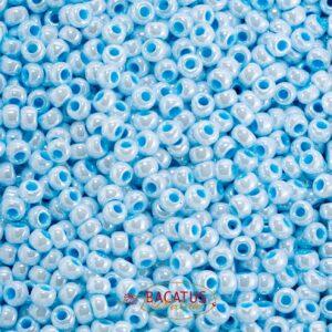 Miyuki Rocailles 6-430 aqua lined white pearl 9,9g