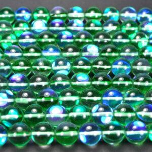 Bergkristall Kugel grün blau 12 mm, 1 Strang