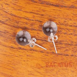 Orecchini a bottone in cristallo di rocca Argento 925 8 mm, 1 paio