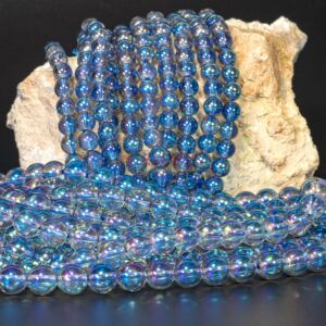 Bergkristall Kugel glanz lila blau 6-8mm, 1 Strang