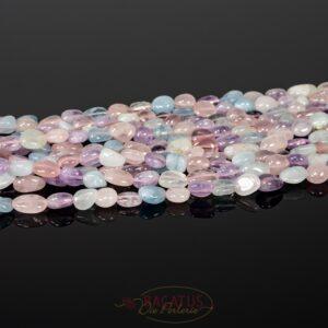 Pépites de quartz rose améthyste aigue-marine 4 x 8 mm, 1 fil